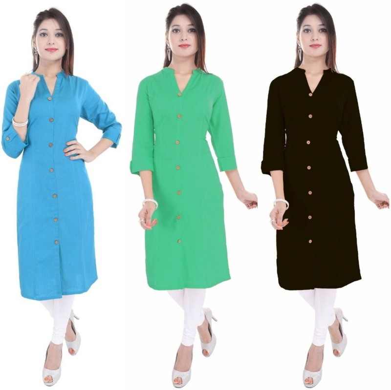 FEBIA Casual Solid Women Kurti(Pack of 3, Light Blue, Light Green, Black)