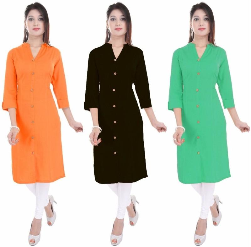 FEBIA Casual Solid Women Kurti(Pack of 3, Orange, Black, Light Green)