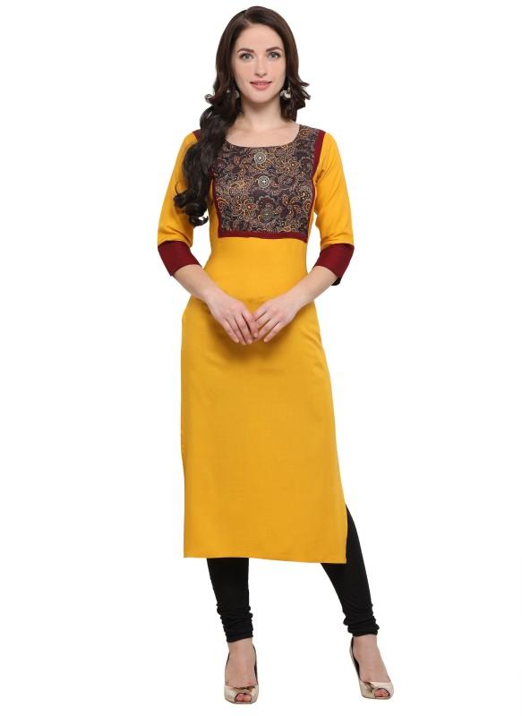 Shopping Queen Festive & Party Paisley Women's Kurti(Yellow)