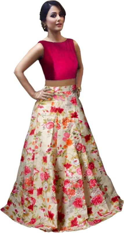 lovit fashion Self Design Women's Semi Stitched(Orange, Size: Free)