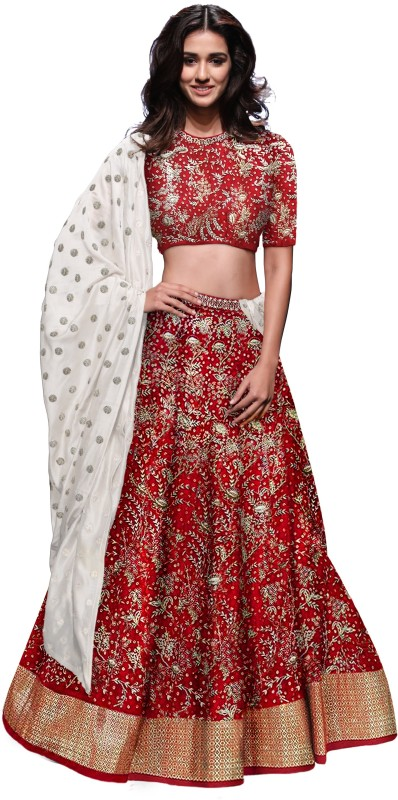 Fabron Embroidered Red Raw Silk Semi Stitched Lehenga Choli Material With White...