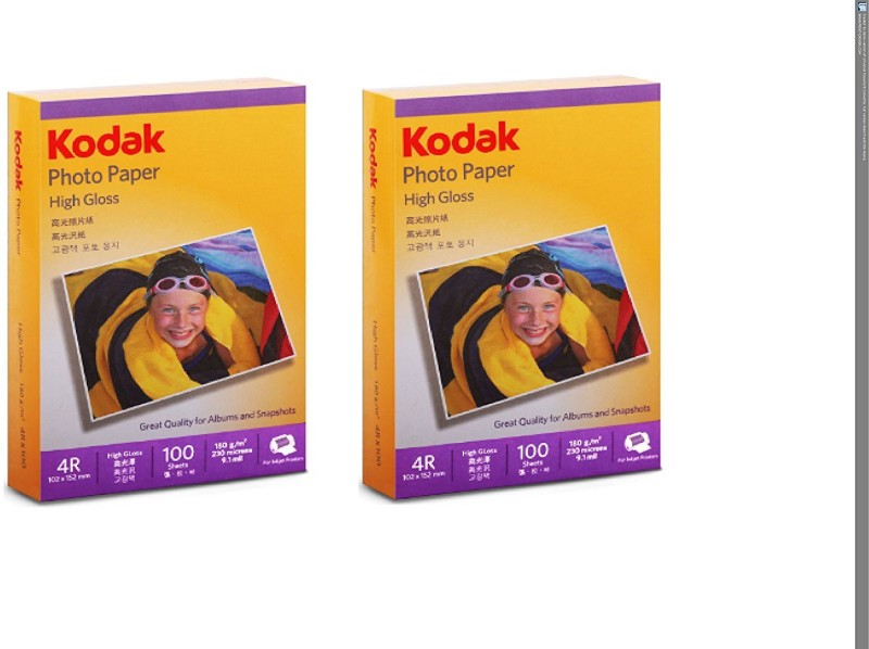 Kodak Kodak High Gloss 4R 180 GSM ( 102 x 152mm) Photo Paper For a Lifetime of MEMORIES Unruled 4R Inkjet Paper(Set of 2, White)