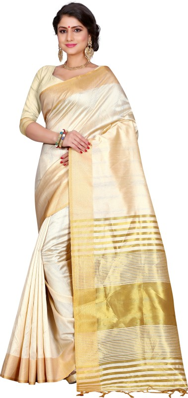 Style U Woven Banarasi Jute, Jacquard Saree(White)