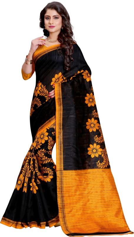 Style U Printed Bhagalpuri Art Silk Saree(Black, Yellow)