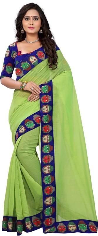 E-Vastram Solid Kalamkari Cotton Saree(Green)