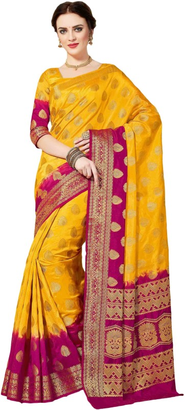 M.S.Retail Embroidered Kanjivaram Silk Saree(Yellow, Pink)