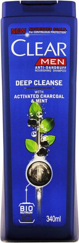 Clear Men Deep Cleanse With Activated Charcoal & Mint Anti-Dandruff Shampoo (Made In Thailand)(340 ml)