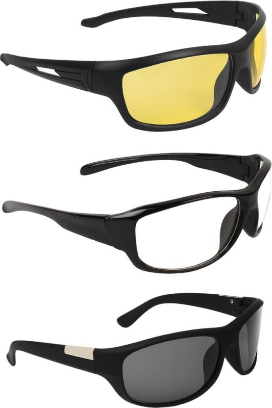 Zyaden Wrap-around Sunglasses(Yellow, Clear, Black)