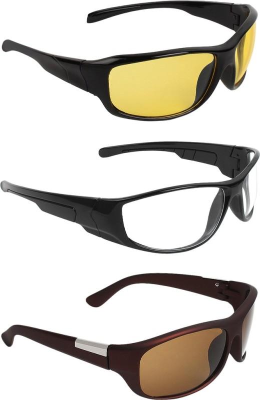 Zyaden Wrap-around Sunglasses(Yellow, Clear, Brown)