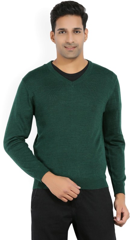 Wills Lifestyle Solid V-neck Casual Mens Green Sweater