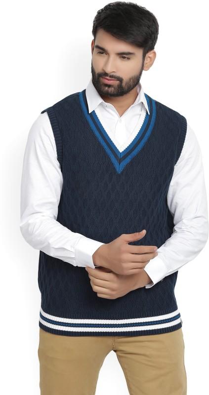 LP Louis Philippe Self Design V-neck Casual Mens Blue Sweater