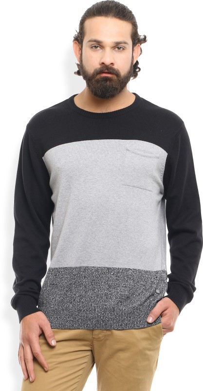 Flying Machine Solid Crew Neck Casual Mens Black, Grey Sweater