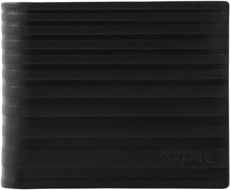 Titan Men Black Genuine Leather Wallet(4 Card Slots)