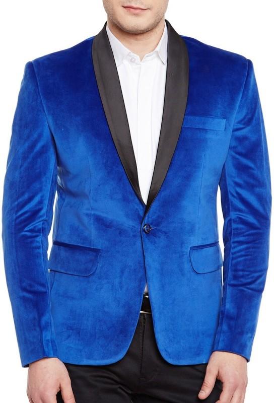 WINTAGE Solid Tuxedo Style Festive Men's Blazer(Blue)