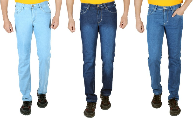 Meghz Regular Men's Light Blue, Dark Blue, Blue Jeans(Pack of 3)