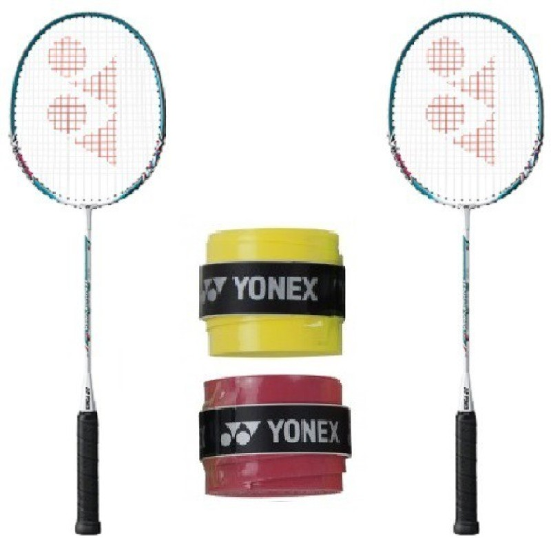 Yonex Combo of Four, Two 'Muscle Power 2' Badminton Racquet and Two 'AC 102 EX' Badminton Grip (Color On Availability) Badminton Kit