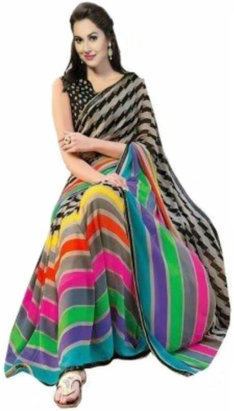 Reya Striped Bhagalpuri Art Silk Saree(Multicolor)