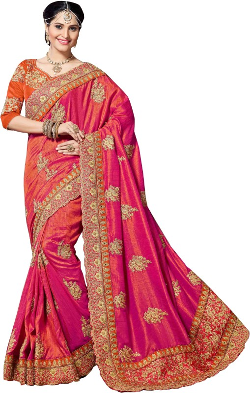 Aarti Apparels Embroidered Bollywood Dupion Silk Saree(Pink, Orange)