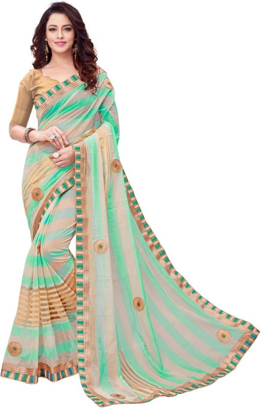 BAPS Embroidered Bollywood Cotton Saree(Light Green, Beige)