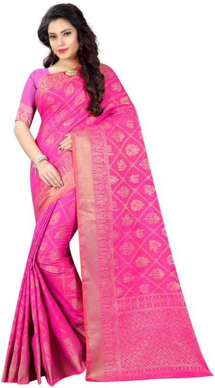 The Fashion Outlets Woven Kanjivaram Tussar Silk Saree(Pink)