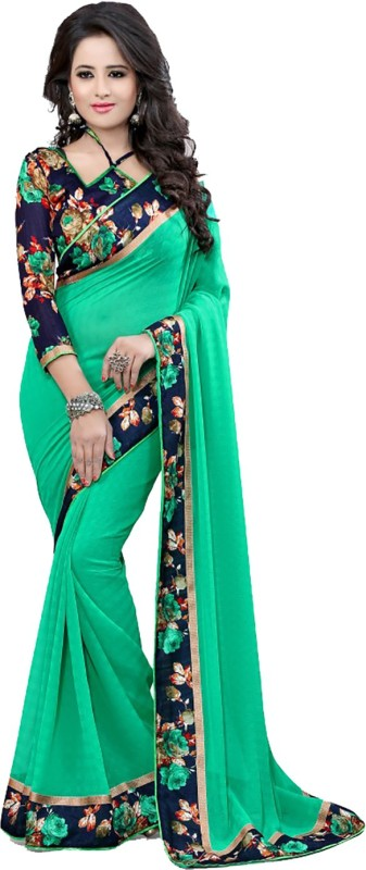 Exclusive Designer Floral Print Bollywood Georgette Saree(Green)