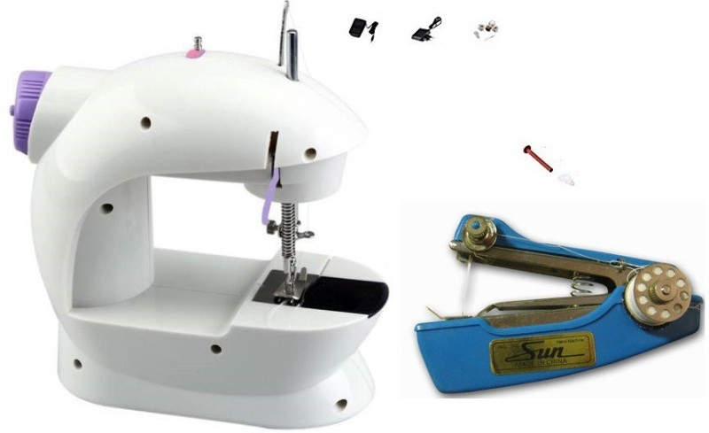 Bluebells India stapler machine & Mini Portable 2-Speed Double Thread, Double Speed, With Small Light, With Foot Pedal AC100-240V Electric Sewing Machine( Built-in Stitches 1)