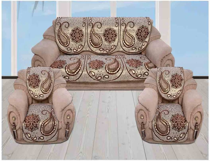 The Intellect Bazaar Velvet Sofa Cover(Brown Pack of 6)