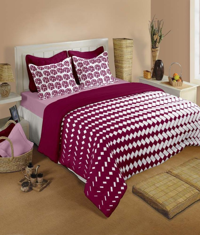 Raymond Home Cotton Double Abstract Bedsheet(1 Bedsheet and 2 Pillow covers, Pink)