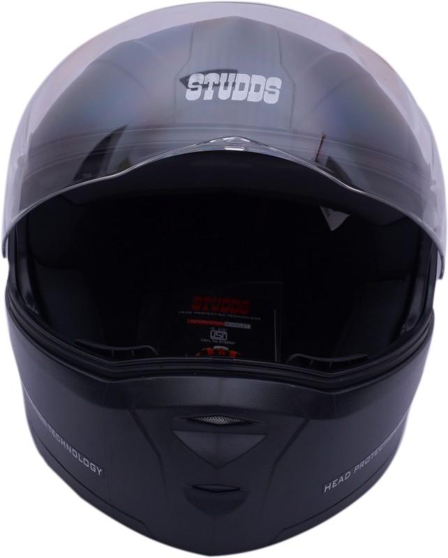 Studds Motorsports Helmet (BLACK WITH CARBON CENTER STRIP) Motorbike Helmet(Black)