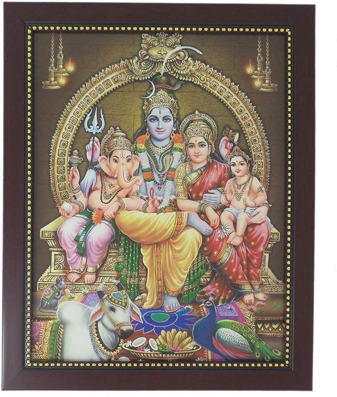 R S Exports Lord Shiva Family Photo Frame ( 32.5 cm x 26.5 cm x 1.5 cm ) / Thanksgiving Wall Decorations / vinayagar ganpati ganesh ganesha murugan shiva siva parvati parvathy Art work for Paintings / God Gods and Goddess Religious Frame
