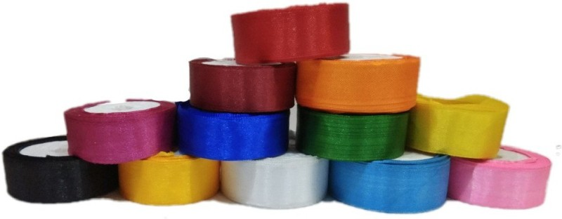 Shreeji Decoration Satin Ribbon Set of 12 Multicolor Satin Ribbon(Pack of 12)