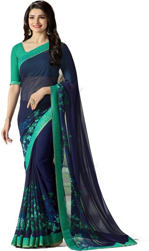 Bombey Velvat Fab Printed Daily Wear Georgette Saree(Blue)