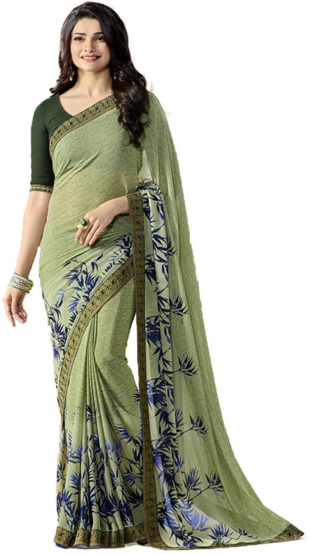 Bombey Velvat Fab Printed Daily Wear Georgette Saree(Dark Green)