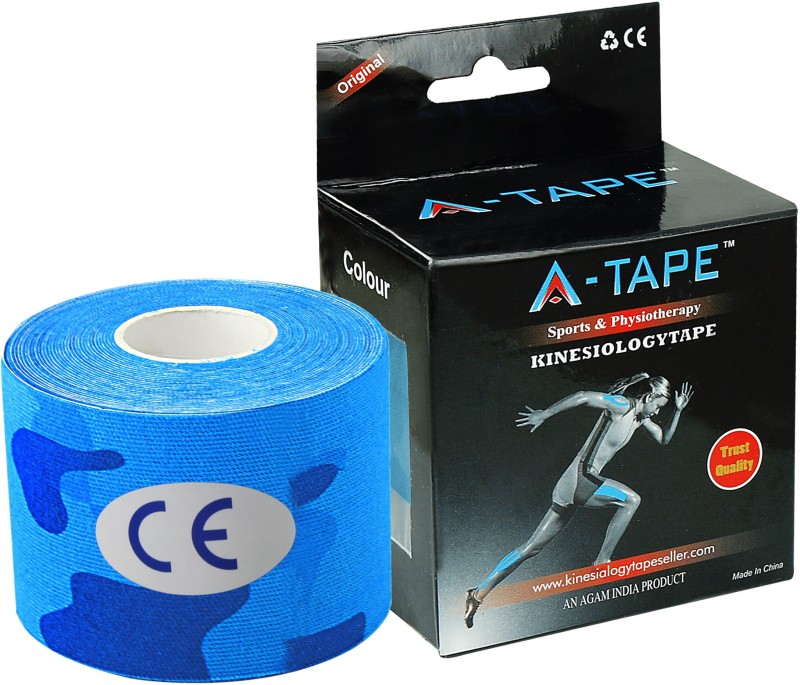 A-TAPE Kinesiology Tape Knee, Calf & Thigh Support (Free Size, Army Blue)