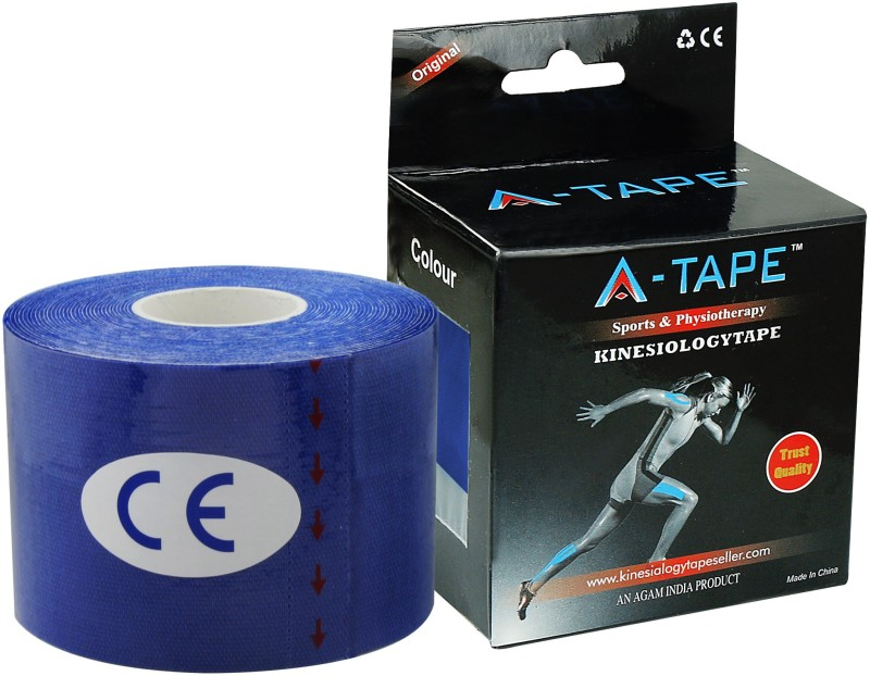 A-TAPE Kinesiology Tape Knee, Calf & Thigh Support (Free Size, Dark Blue)