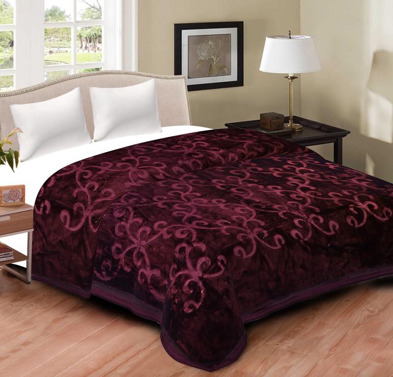 Spangle Floral, Self Design Double Blanket Lavender(Mink Blanket, 1 Blanket)