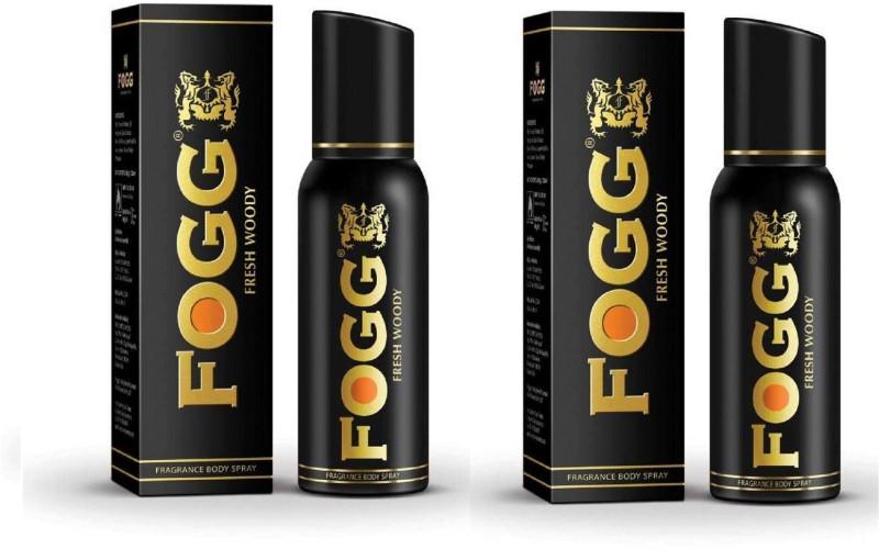 Fogg Fresh Woody Black Series Fragrance Body Spray Pack of 2 Combo (120ML each) Perfume Body Spray - For Men & Women(240 ml, Pack of 2)