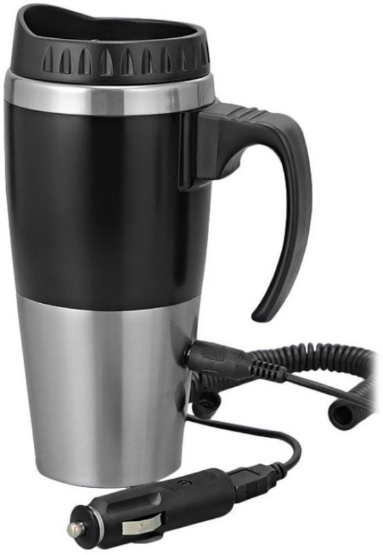 AutoSun Universal Car Heater Mug With Car/USB Charger 500 ML Electric Kettle(500 L, Black, Silver)