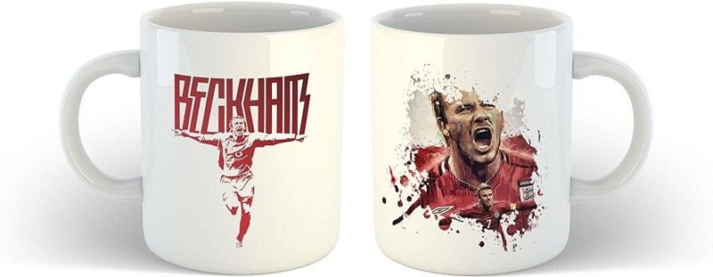 iKraft CoffeeMug Gift for Football Fans - English Former Professional Footballer Printed Tea Cup Set for Foot ball Lover Ceramic Mug(350 ml, Pack of 2)