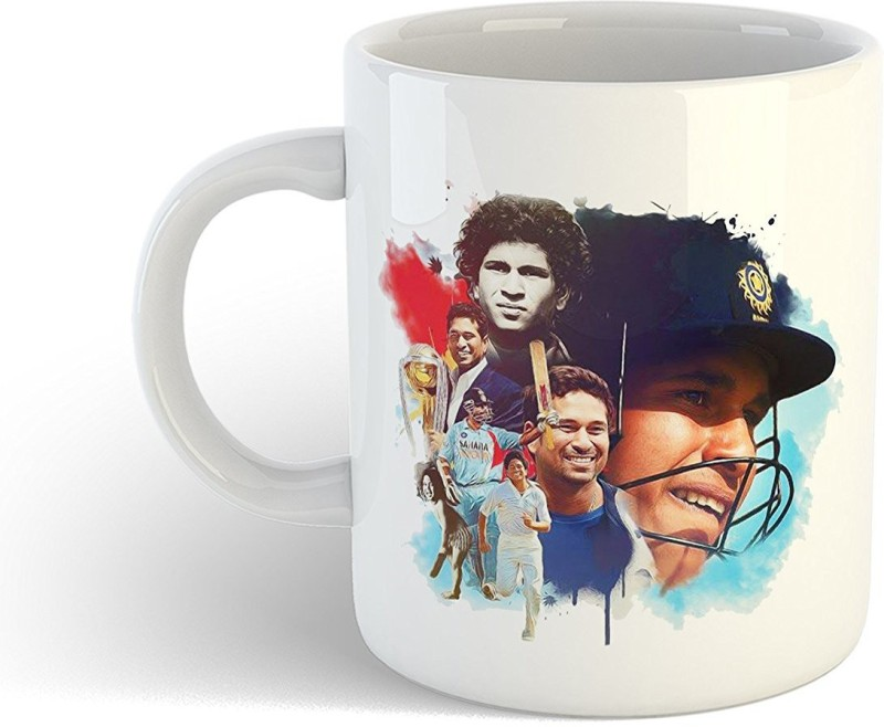 iKraft CoffeeMug Gift for Cricket Fans Indian Greatest Batsman Cricketer and a Former Captain Printed Tea Cup Set for Cricket Lover Ceramic Mug(350 ml)