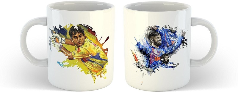 iKraft CoffeeMug Gift for Cricket Lover - Greatest Indian Cricket Players Best Printed Tea Cup Set for Cricketer Ceramic Mug(350 ml, Pack of 2)