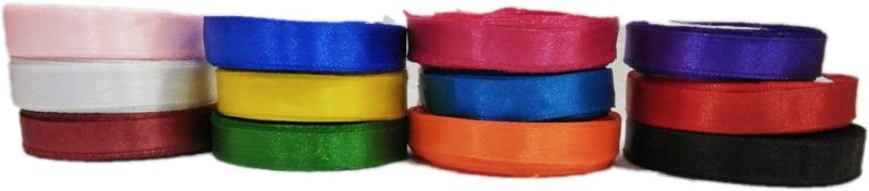 Shreeji Decoration SR694 Multicolor Satin Ribbon(Pack of 12)