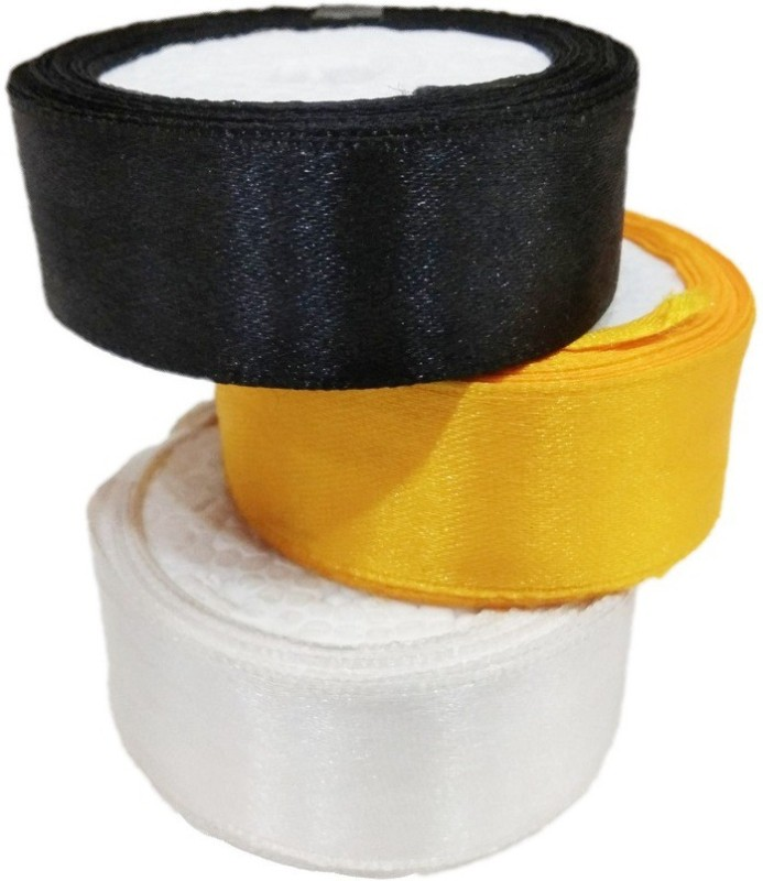 Shreeji Decoration Quality Satin Ribbon Black, Yellow, White Satin Ribbon(Pack of 3)