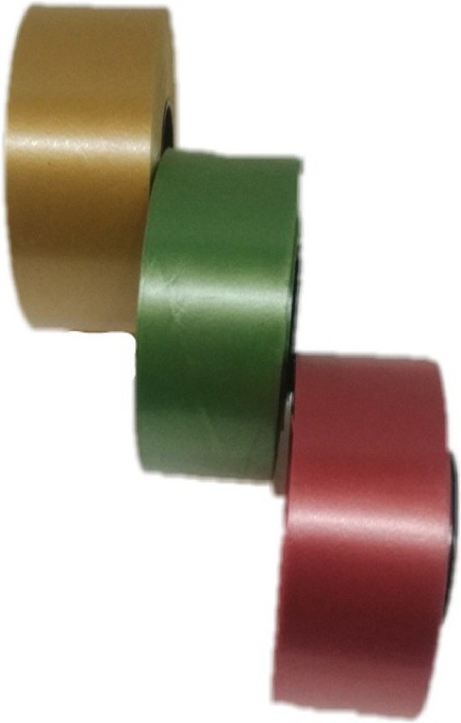 Shreeji Decoration Premium Ribbon Gold, Green, Red Polypropylene Ribbon(Pack of 3)