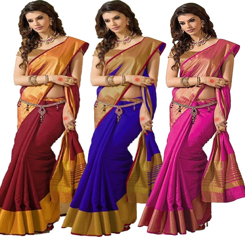 Indianbeauty Solid Bollywood Tussar Silk Saree(Pack of 3, Multicolor)