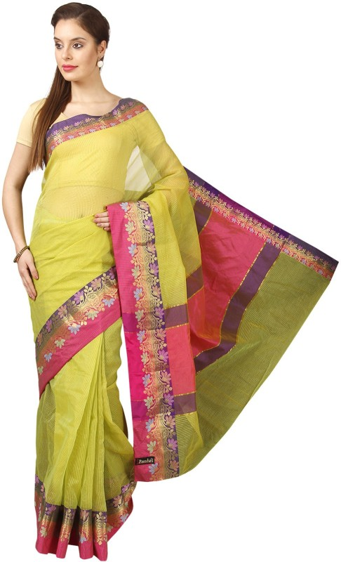 Pavechas Printed Kota Doria Kota Cotton Saree(Green)