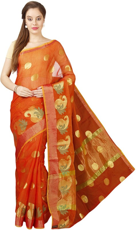 Pavechas Printed Kota Doria Kota Cotton Saree(Orange)