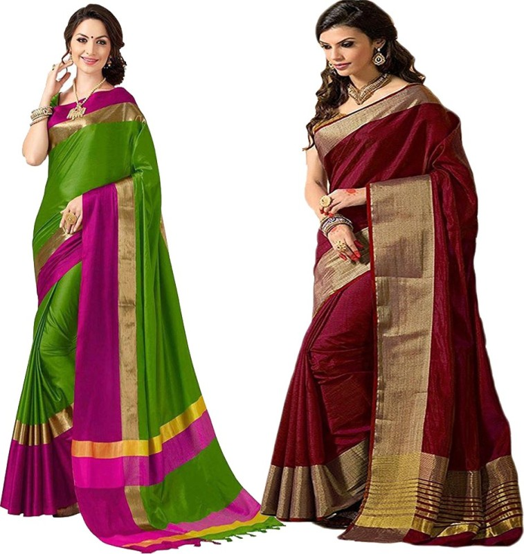 Indianbeauty Solid Bollywood Silk Saree(Pack of 2, Multicolor)