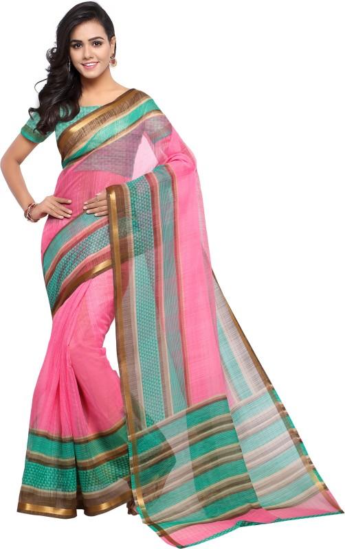 Sunaina Printed Chanderi Poly Chanderi Saree(Green)