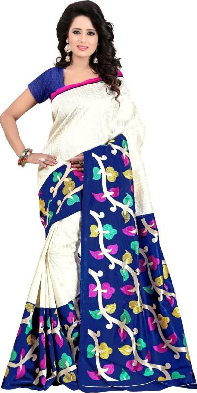 yashika Floral Print Daily Wear Art Silk Saree(White)